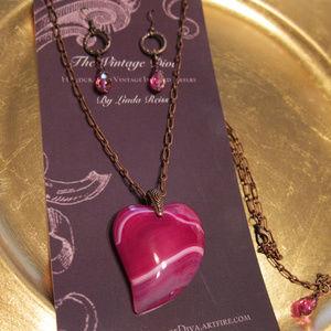 Copper/Fuchsia Pink Heart Druzy Pendant Necklace